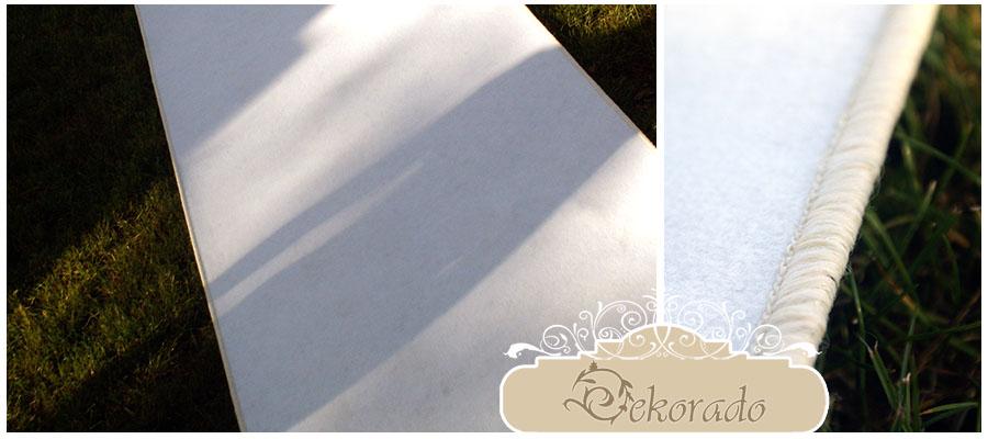 Oryginalny, gruby, biały dywan ślubny