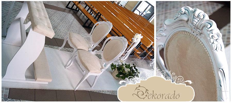 Ludwikowskie krzesła wraz z klęcznikiem
