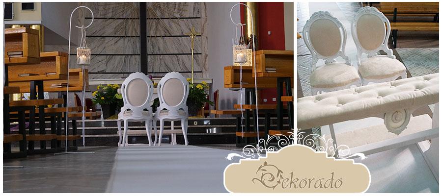 Idealne trio - krzesła, klęcznik i biały dywan