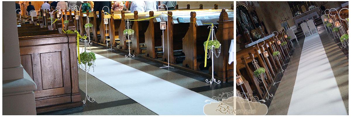 Śnieżno biały dywan do ślubu